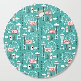 Seattle travel art cute decor for nursery kids room pattern girls or boys Cutting Board