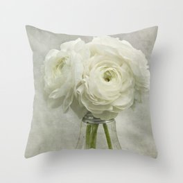 White on White Ranunculus Flower Bouquet -- Spring Botanical -- Floral Still Life Throw Pillow