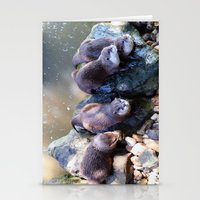 otters Stationery Cards featuring Otters by Shalisa Photography