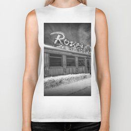 Rosie's Diner Photograph in Infrared Black & White by Rockford, Michigan Biker Tank