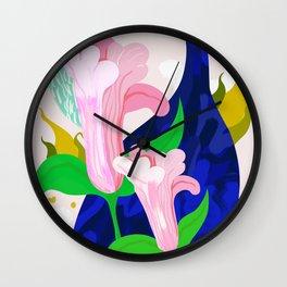Blue Leaf Wall Clock