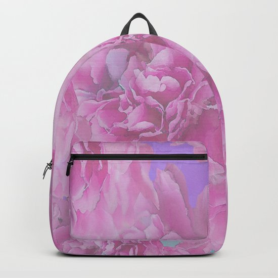 Surrounded by flowers - pink and purple bloom with turquoise background - #society6 #buyart Backpack