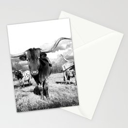 Longhorn Cattle Black and White Highland Cows  Stationery Cards