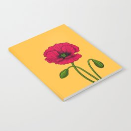 Red poppy drawing Notebook