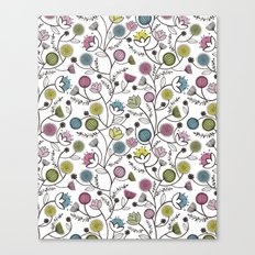 Black Border Florals Canvas Print