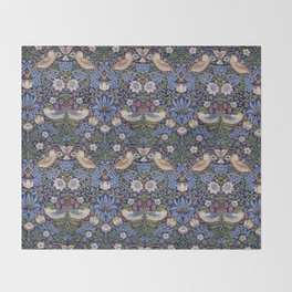 William Morris Strawberry Thief Pattern Throw Blanket