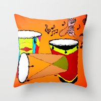 drums Throw Pillows featuring Conga Drums by TNP Scribble