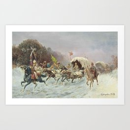 Adolf Constantin Baumgartner Stoiloff,  A troika in the snow Art Print
