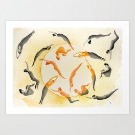 Sun bathers Art Print