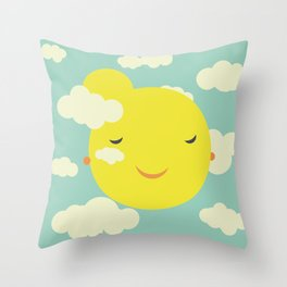 Miss Sunshine in clouds Throw Pillow