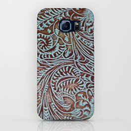 Light Blue & Brown Tooled Leather iPhone Case