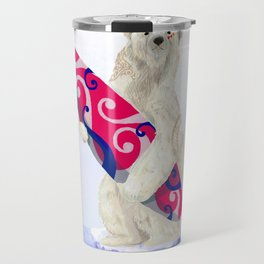 Polar bear & Surf (tribal pink) Travel Mug