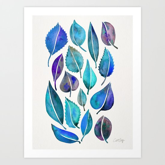 Cascading Leaves – Blue Palette Art Print