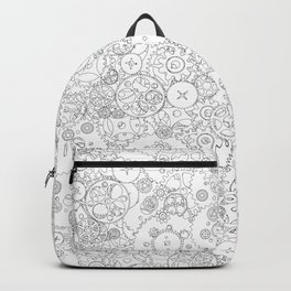 Clockwork B&W / Cogs and clockwork parts lineart pattern Backpack