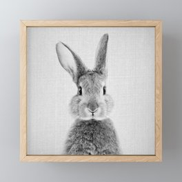 Rabbit - Black & White Framed Mini Art Print