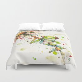 Hello There Bright Eyes (Green Tree Frog) Duvet Cover