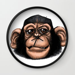 Cheeky baby chimp in colour. Wall Clock