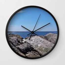 Blue Sea Beyond the Rocks Wall Clock