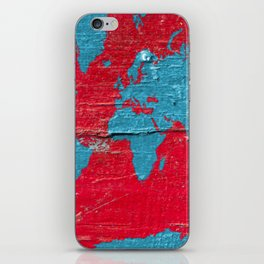 Blue and Red Milk Paint - Organic World Map Series iPhone Skin