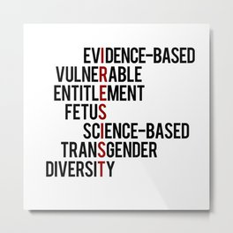 Donald Trump's seven banned words CDC: I RESIST 7 evidence-based vulnerable entitlement fetus Metal Print
