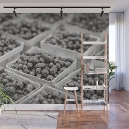 Blueberries in Black and White Wall Mural