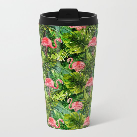 Aloha- Tropical Flamingo Bird and Palm Leaves Garden Metal Travel Mug