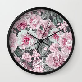 Nostalgic Flower Pattern Teal And Pink Wall Clock