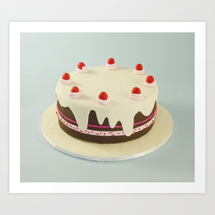 Retro Birthday Cake Art Print