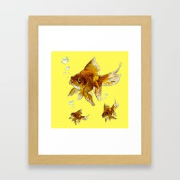 PRIZE WINNING BLACK-GOLDFISH YELLOW ART Framed Art Print