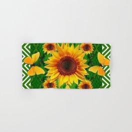 Green Yellow Butterflies Sunflowers Flowers  Art Hand & Bath Towel