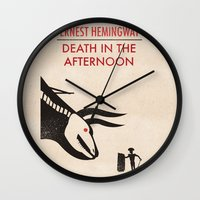 hemingway Wall Clocks featuring Death in the afternoon by Wharton