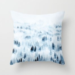 Foggy Trees Throw Pillow
