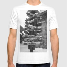 Which Way? MEDIUM White Mens Fitted Tee