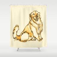 golden retriever Shower Curtains featuring Linus the Golden Retriever by bellandpixel