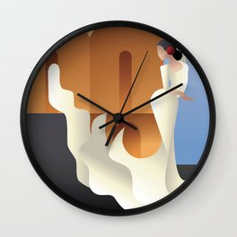 Art Deco Spain Flamenco dancer on sity landscape Wall Clock