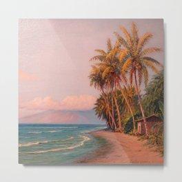 Lahaina Beach, West Maui Tropical Hawaiian Islands landscape painting by D. Howard Hitchcock Metal Print
