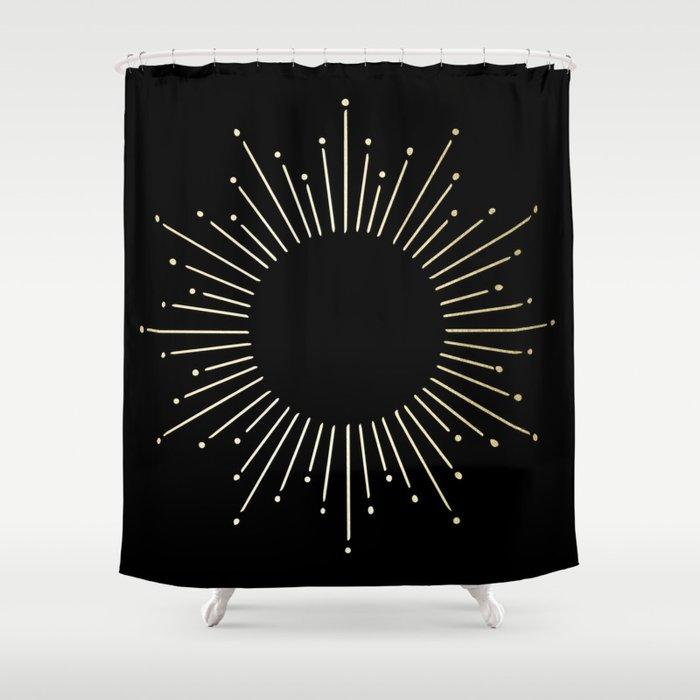 Mod Sunburst Gold 1 Shower Curtain By Followmeinstead