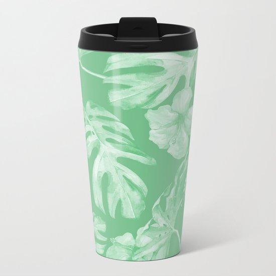 Tropical Palm Leaves Green Metal Travel Mug