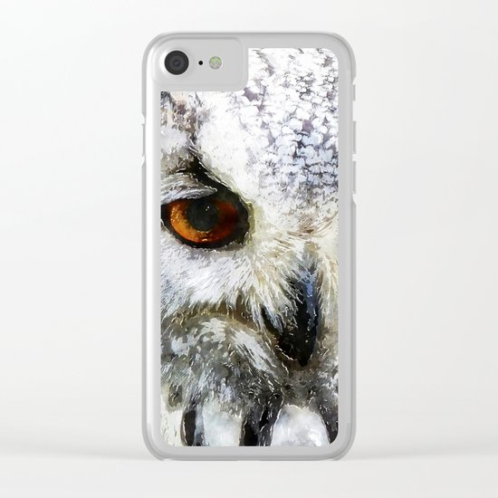 Owl  Animal Bird Watercolor Illustration Clear iPhone Case
