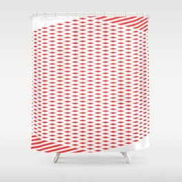 Geometric, Abstract, Red And White Stripes Shower Curtain