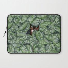 Bengal cat and Calathea orbifolia Laptop Sleeve