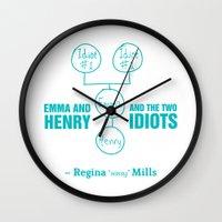 regina mills Wall Clocks featuring Regina Sassy Mills | The two idiots by CLM Design