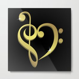 Treble clef, bass clef music heart love Metal Print