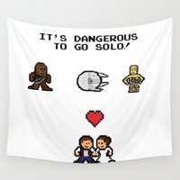 han solo Wall Tapestries featuring it's dangerous to go solo.. han and leia love by studiomarshallarts