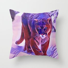 Mountain Lion Hunting in The Snow Throw Pillow