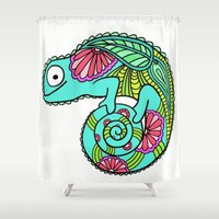 lizard Shower Curtains featuring Lizard by ENSBlackbird