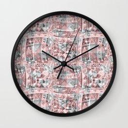 Pink, gray ethnic pattern. Wall Clock