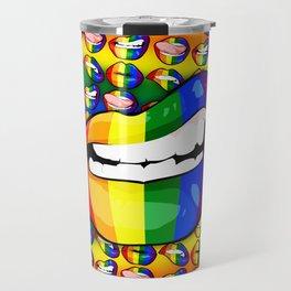 LGBTQ Rainbow Lips Snarl Travel Mug