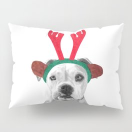 Black and White Boxer Christmas Pillow Sham