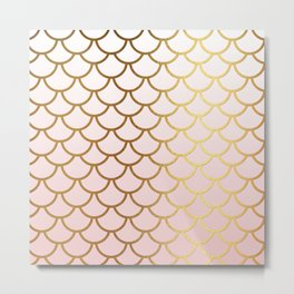 Pink Gradient And Gold Foil MermaidScales - Mermaid Scales Metal Print